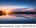 Mountain lake with moonrise at night. landscape 28340816