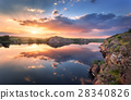 Lake against colorful sky with clouds at sunset 28340826