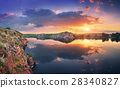 Lake against colorful sky with clouds at sunset 28340827