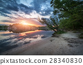 Lake against colorful sky with clouds at sunset 28340830