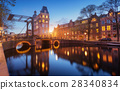 Cityscape at sunset in Amsterdam, Netherlands 28340834