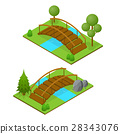 river, bridge, isometric 28343076