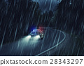 USA police car at work at night in the forest,  28343297