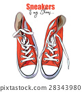 Vector illustration of a hand drawing sneakers 28343980