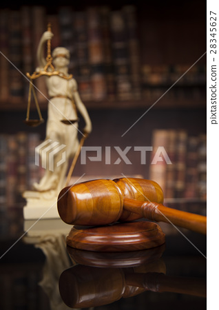 Antique statue of justice, law, books background 28345627