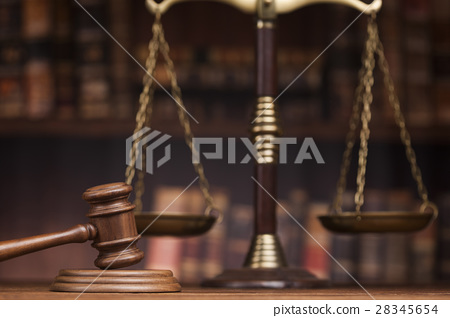 Law and justice concept, Brown wooden background 28345654