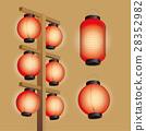 Japanese long-shaped and circular-shaped lanterns 28352982
