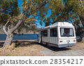 Motorhome camper at Lake Pearson, New Zealand 28354217