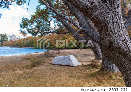 Campsite at Lake Pearson, New Zealand 28354231