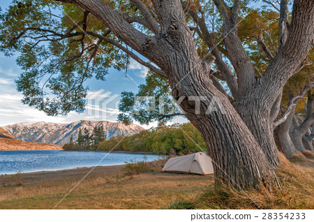 Campsite at Lake Pearson, New Zealand 28354233
