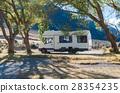 Motorhome camper at Lake Pearson, New Zealand 28354235