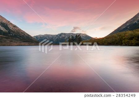 Sunset at Lake Pearson, New Zealand 28354249