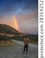 mountain, rainbow, man 28354252