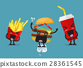 Laughing French fries and drink with fat hamburger 28361545
