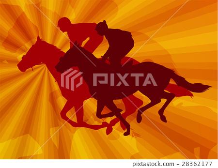 jockeys riding horses on the abstract background 28362177