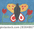 Children's drawing - beautiful butterfly flying in 28364867