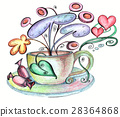 Stylized cup and saucer and chocolates from  28364868