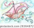 Illustration - fantastic boat floats on the ocean 28364872