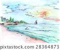 Illustration - pencil drawn seascape at sunset 28364873