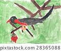A child drawing of bird sitting on branch of Rowan 28365088