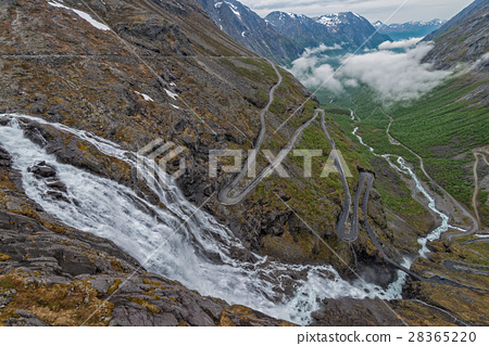 Trollstigen - scenic mountain road in Norway. 28365220