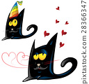 two variant of black cat cartoon   28366347
