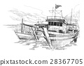 fishing boats in a harbor 28367705