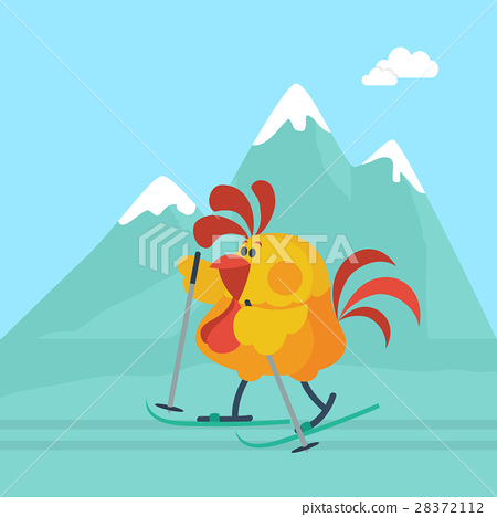 Rooster Skiing in Mountains Cartoon Flat Vector 28372112