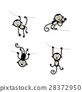 monkey, animal, vector 28372950
