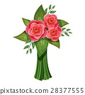 Pink roses bouquet icon, isometric 3d style 28377555