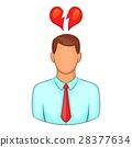 Man and broken heart icon, cartoon style 28377634