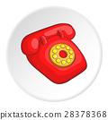 Retro red telephone icon, cartoon style 28378368