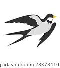 Swallow icon, flat style 28378410