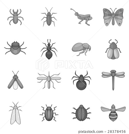 Insect icons set, gray monochrome style 28378456