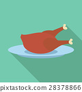 Fried chicken icon, flat style 28378866