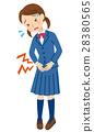 생리통 복통 여자 학생 28380565