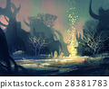 fantasy landscape with a mysterious trees 28381783