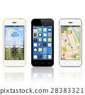 Modern smartphones with widgets on screens 28383321