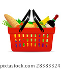 A red plastic shopping basket with groceries 28383324