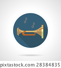 Brass wind instruments. Bugle round vector icon 28384835