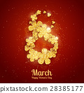 Vector Happy Women's Day greeting card with figure eight made with sparkling gold glitter flowers 28385177
