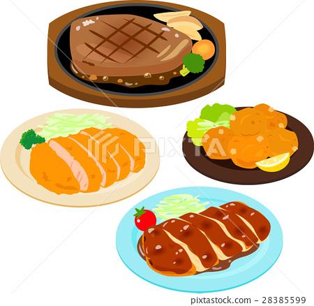 荤菜 牛排 炸猪排 28385599