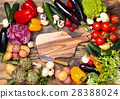 Fresh vegetables on wooden background. 28388024