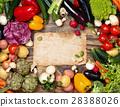 Fresh vegetables on wooden background. 28388026