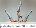 The group of gymnastic acrobatic caucasian men on 28388841