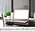 3D Modern office with blank laptop screen. Mockup 28389124