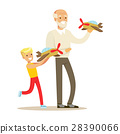 Grandfather And Boy Playing Toy Planes, Part Of 28390066