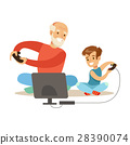 Grandfather And Boy Playing Video Games, Part Of 28390074
