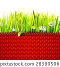 Red knitted cloth with grass 28390506