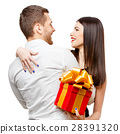 Young beautiful couple with present isolated on 28391320